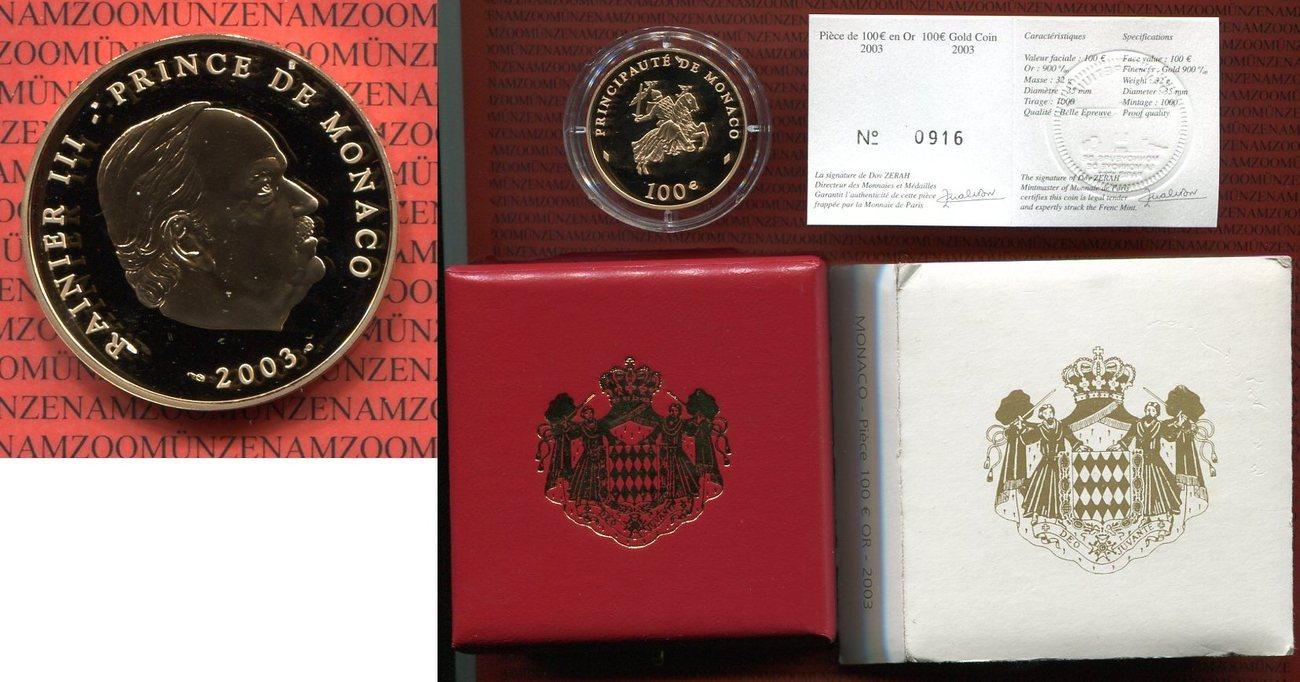 100 Euro Goldmünze 2003 Monaco Monaco 100 Euro Gold 2003 Rainier Iii
