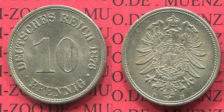 10 Pfennig 1876 D Kaiserreich Kleinmünze Nach Jäger Kaiserreich