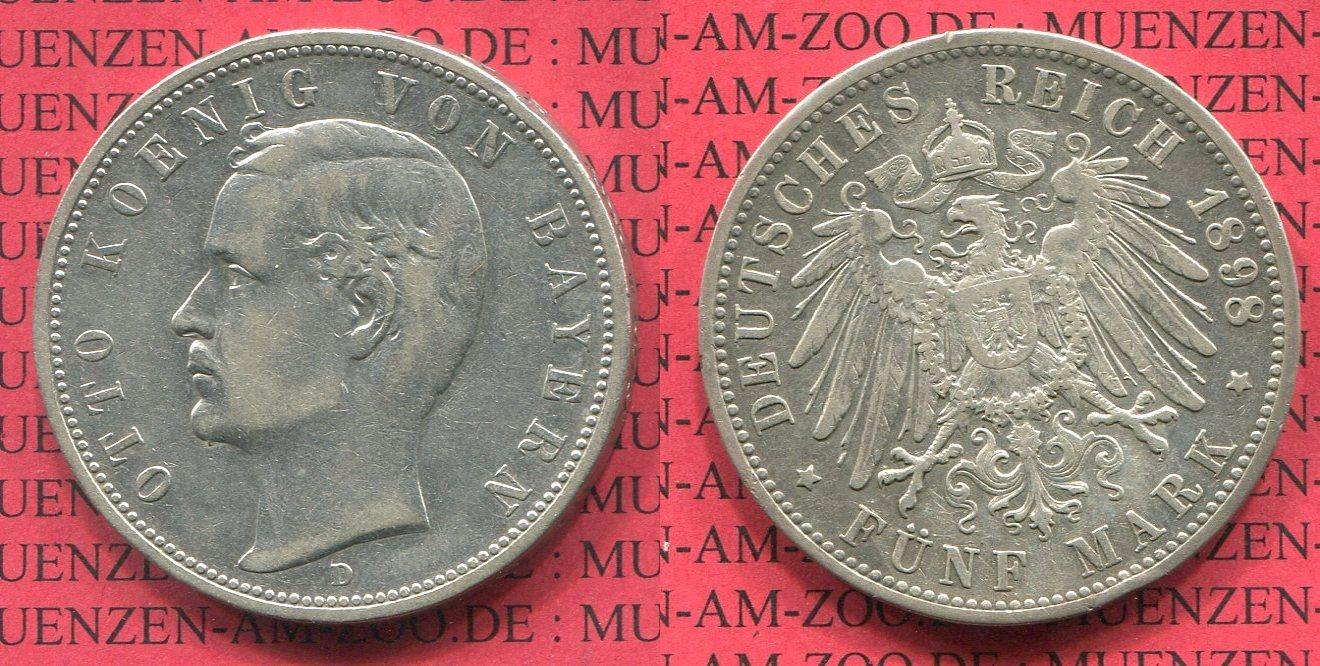 5 Mark Silbermünze Circulation Coin 1894 Bayern Bavaria German