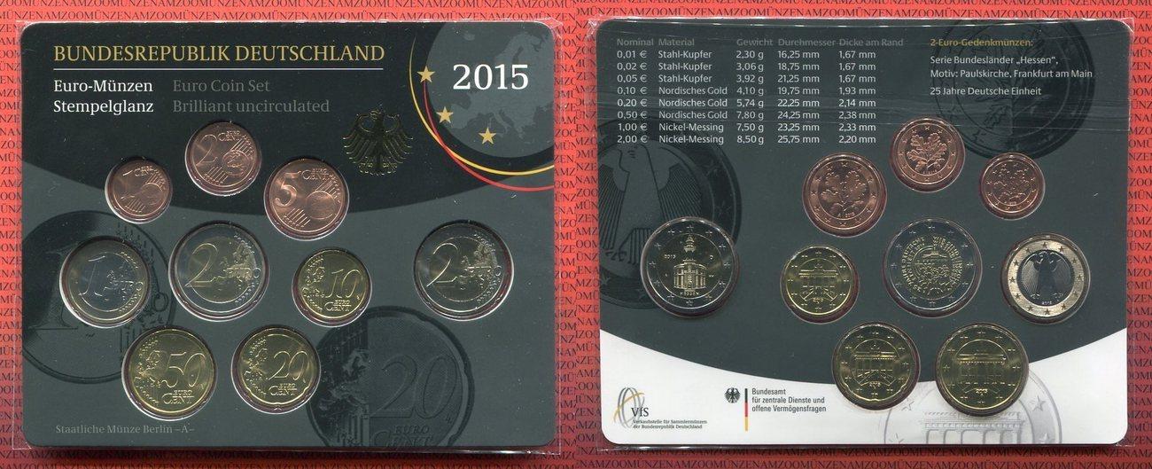 Euro Kursmünzensatz 588 Euro 2015 A Deutschland Deutschland 2015 A