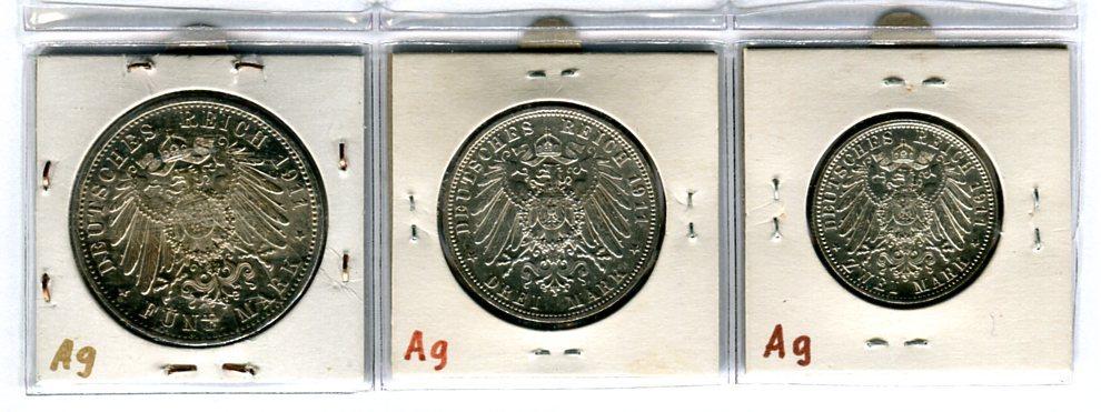 10 Mark 1x 5 Mark 1x 3 Mark 1x 2 Mark 1903 1913 Deutsches Reich