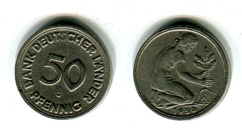 50 Pfennig 1950 G Bundesrepublik Deutschland Germany Frg Bank