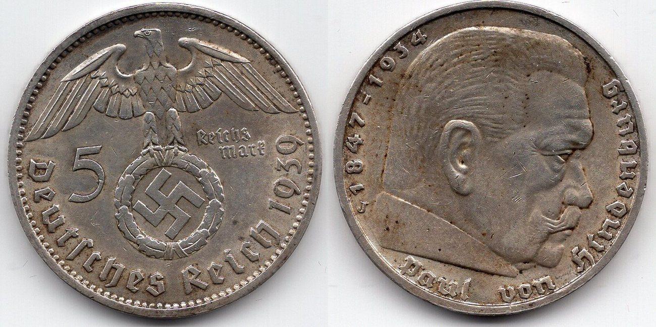 5 Reichsmark 1939 Deutsches Reich Paul Von Hindenburg 5 Reichsmark