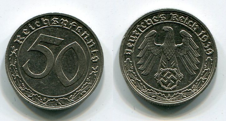 50 Reichspfennig 1939 A Deutsches Reich 50 Reichspfennig Kursmünze