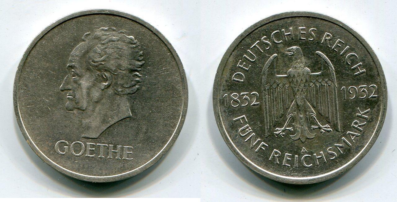 5 Mark Die Seltenste Weimar Münze 1932 A Weimarer Republik