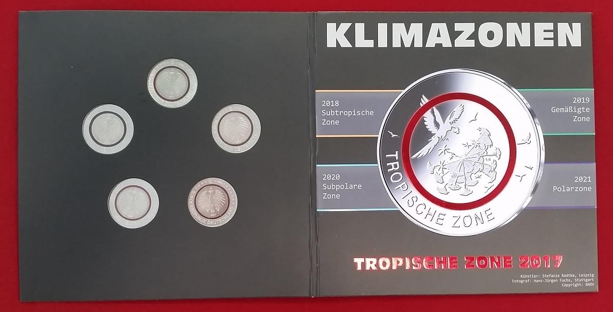 5 X 5 Euro Gedenkmünzen A J Komplettsatz 2017 Bundesrepublik