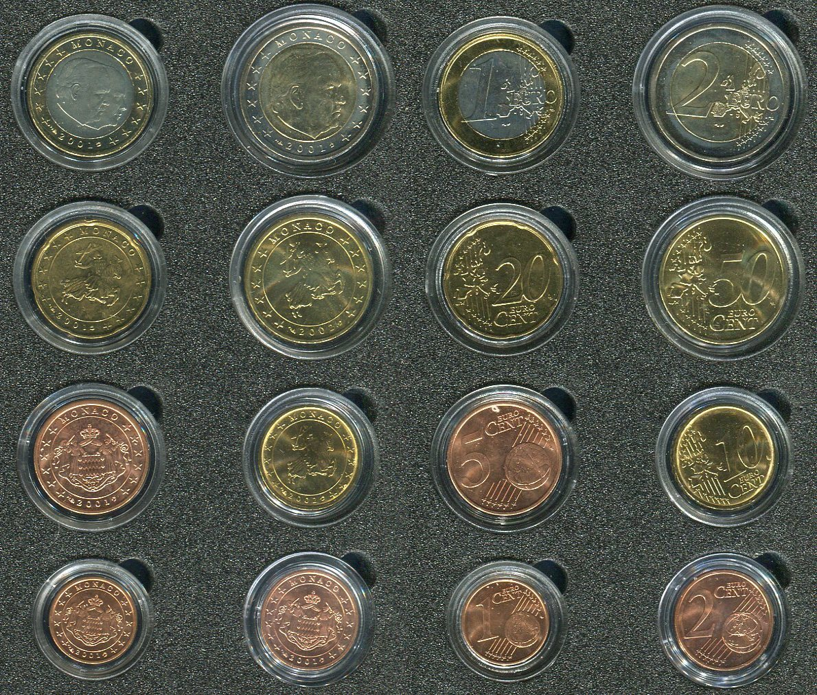 Kursmünzensatz 1 Cent Bis 2 Euro 20012002 Monaco Kms 8 Münzen Unc