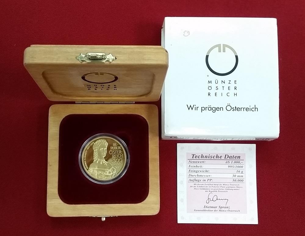 1000 Schilling Goldmünze 1998 österreich Kaiserin Elisabeth Sissi
