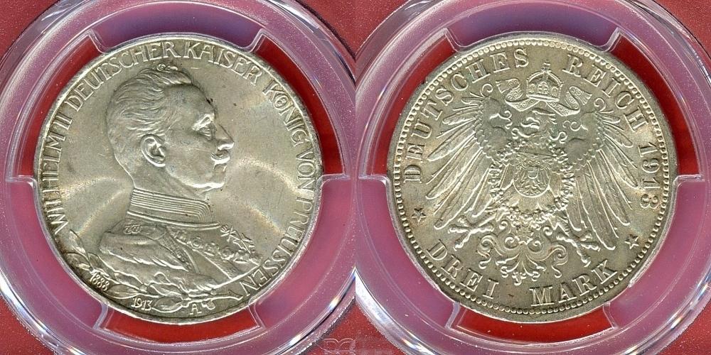 3 Mark 1913 A Preussen Prussia 25 Jahre Wilhelm Ii Deutscher