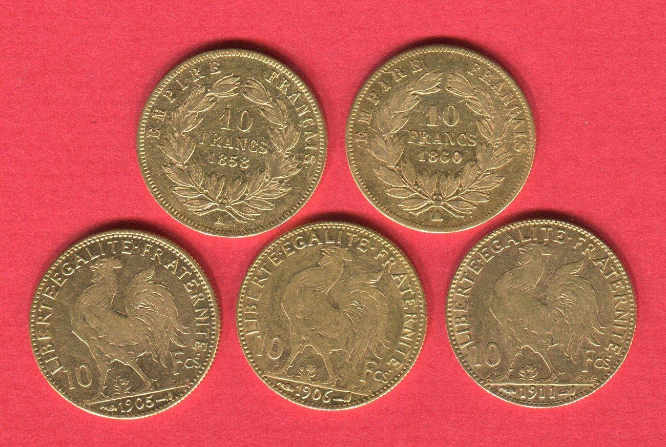 5 X 10 Francs Goldmünzen Versch Jahre Frankreich Lot Von 5 Münzen