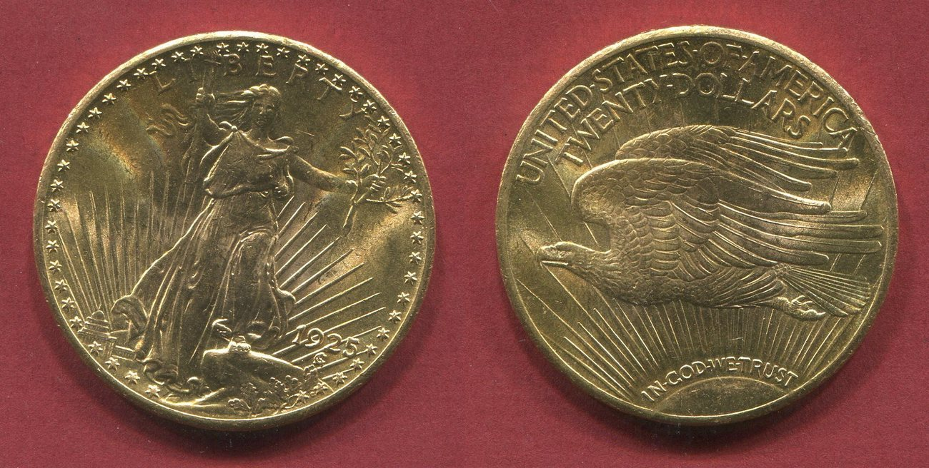20 Dollars Gold Double Eagle 1925 Usa St Gaudens Usa Unc Ms Ma Shops