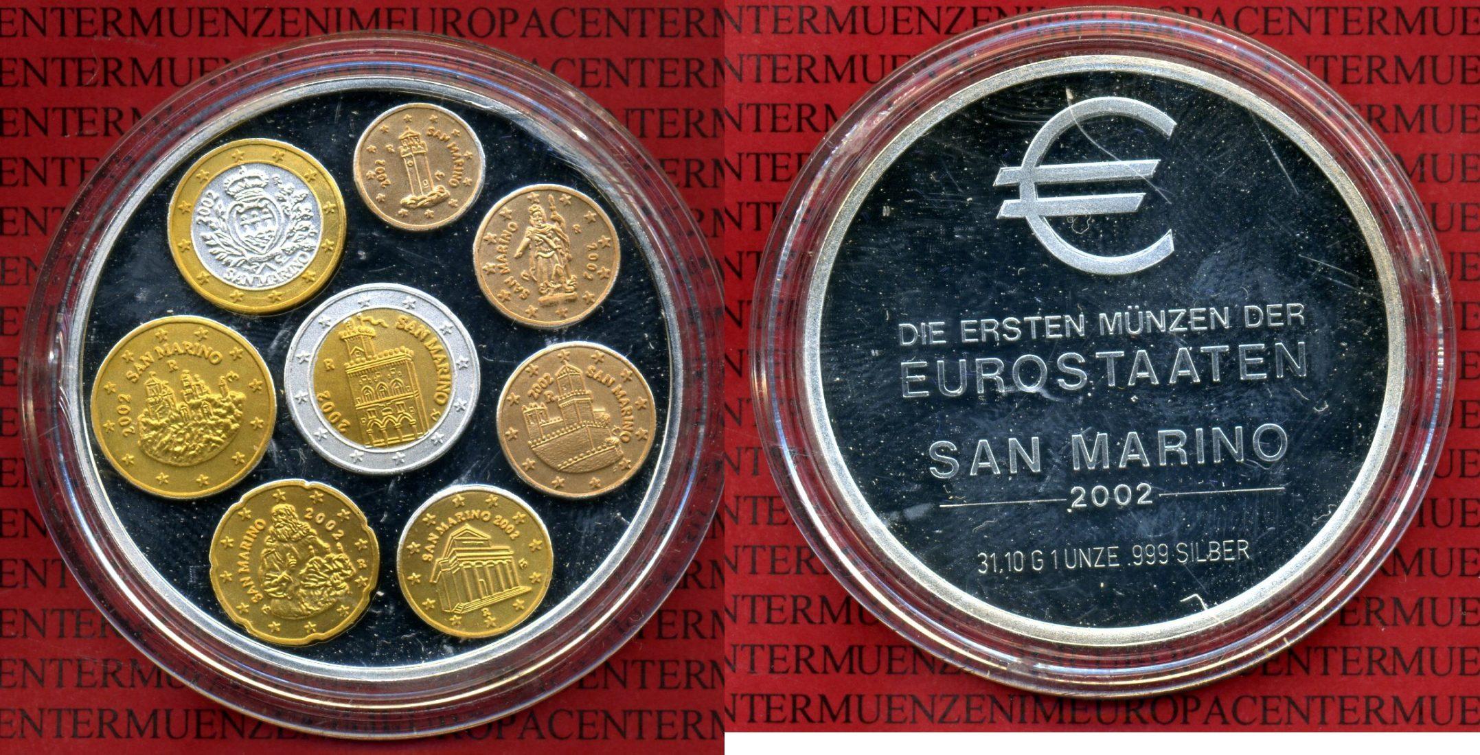 Silbermedaille Unze Mit Farbapplikation 2002 San Marino Erste Münzen