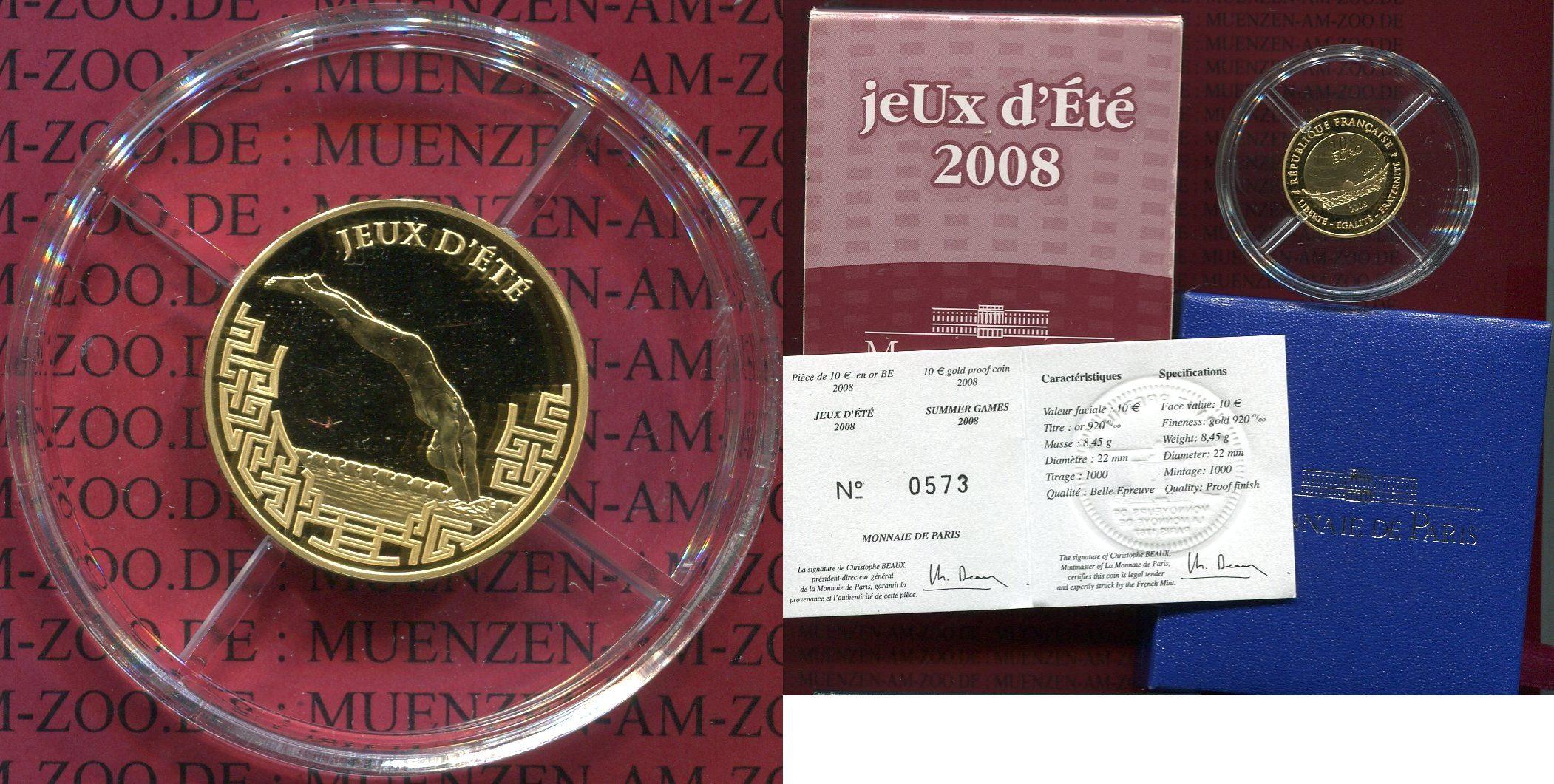 10 Euro Gold 2008 Frankreich France Frankreich 10 Euro Gold 2008