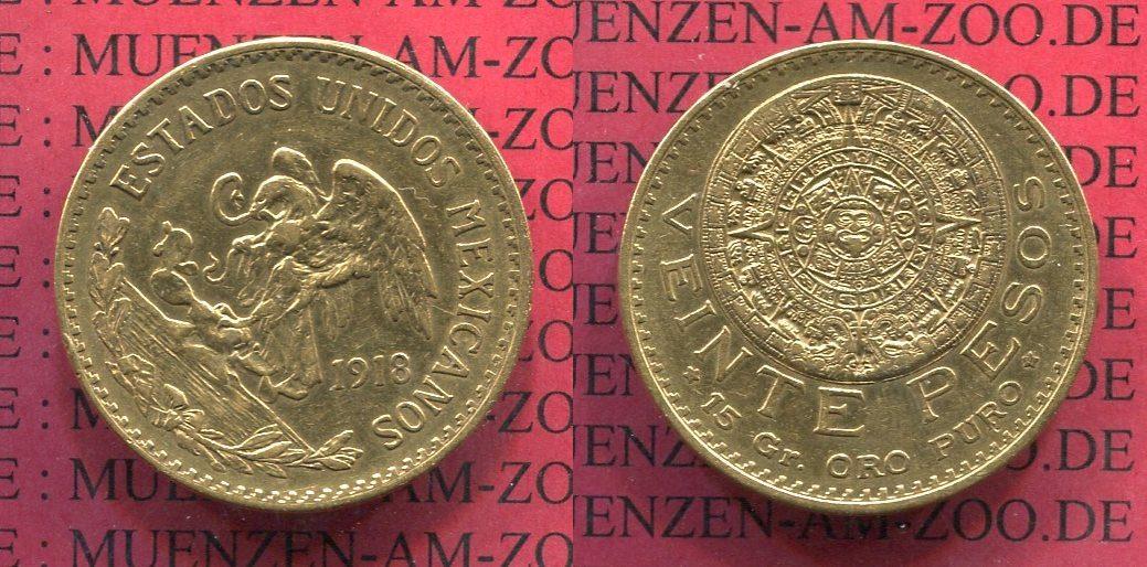 20 Pesos Goldmünze Original 1918 Mexico Mexico 20 Pesos Gold 1918