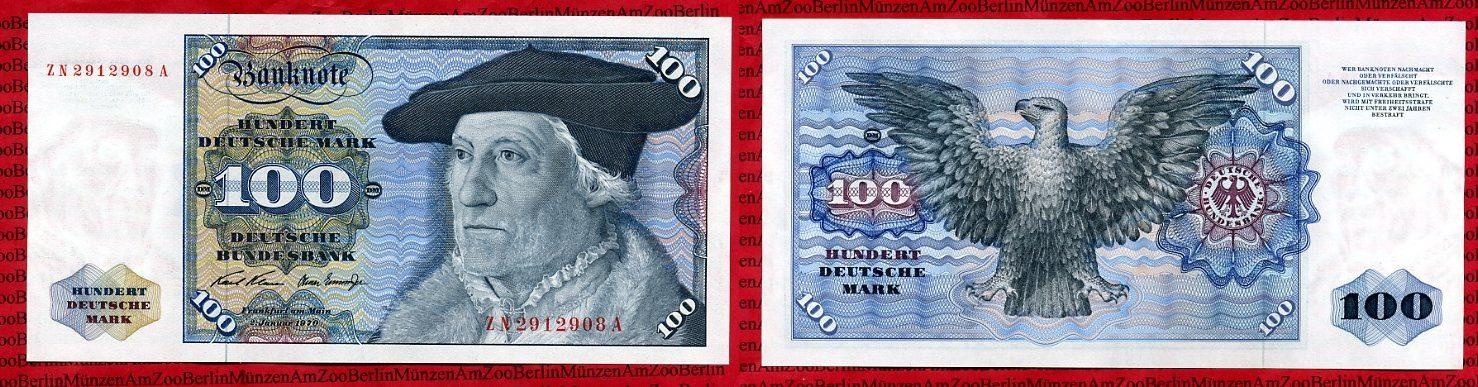 100 Dm Deutsche Mark Ersatznote Zn A 1970 Brddeutsche Bundesbank