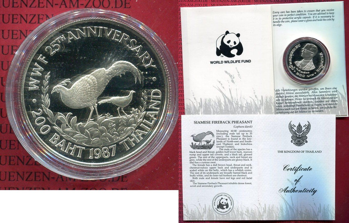 200 Baht Silbermünze 1987 Thailand Thailand 200 Baht Silber 1987