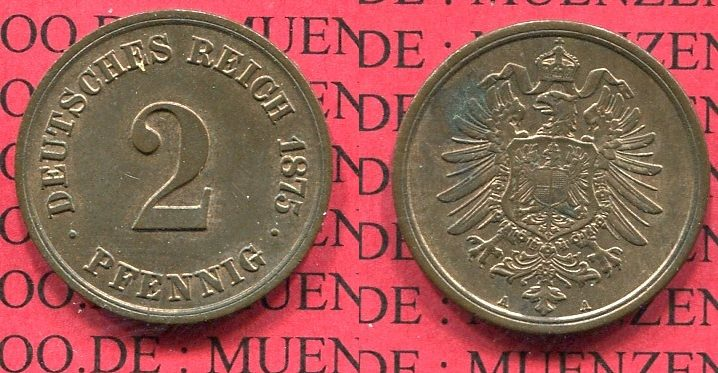 2 Pfennig 1875 A Kaiserreich Kleinmünze Nach Jäger Kaiserreich