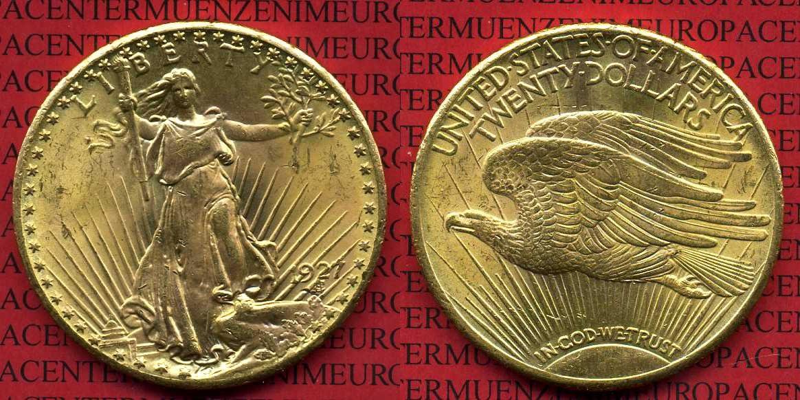 20 Dollars Dollar Gold 1927 Usa St Gaudens Typ Usa Unc Ma Shops