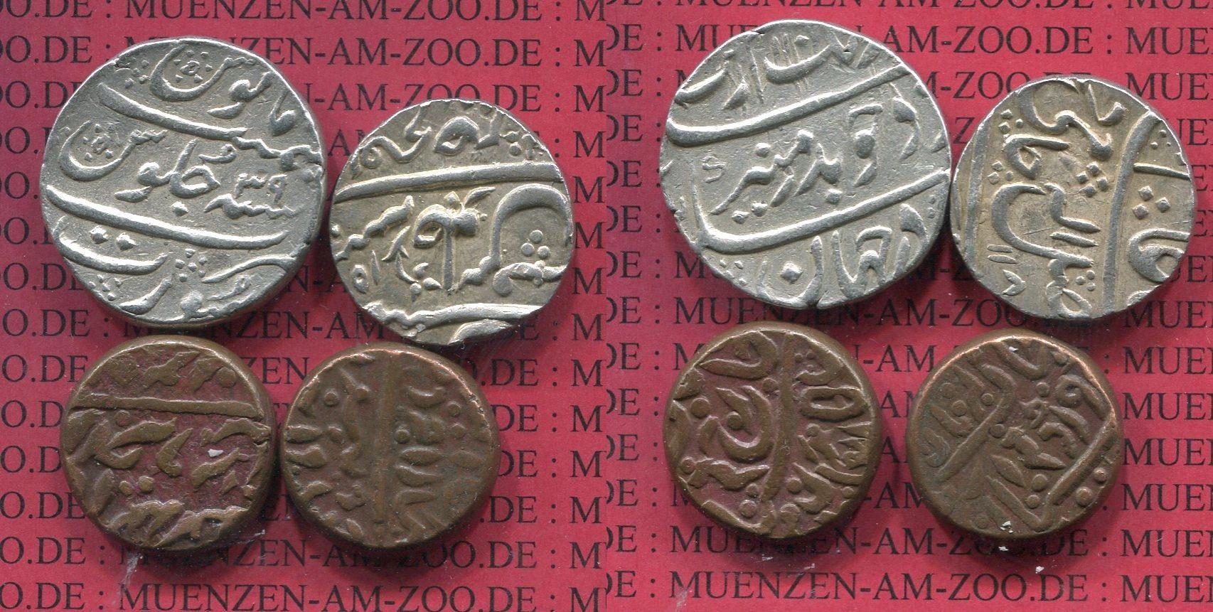 2 X Rupie 2 X Bronzen Oj Indien Mughal Indien 2 X 1 Rupie Silber