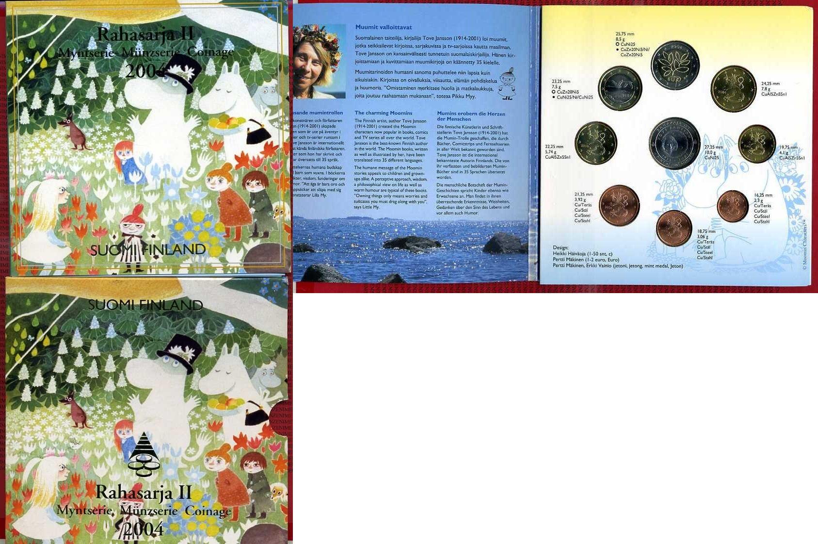 Kursmünzensatz Moomins Mumins 2004 Finnland Finland Moomins Set