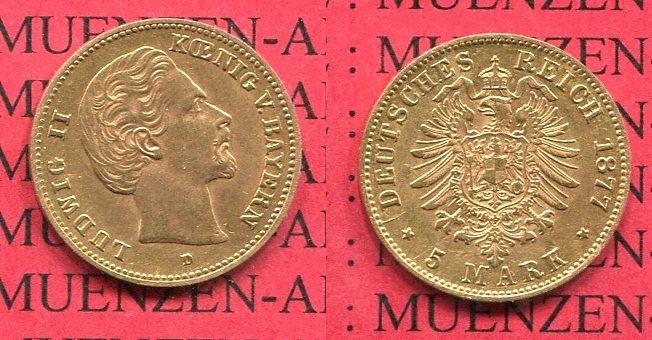 5 Mark Goldmünze Ludwig Ii 1877 Bayern Bavaria Kingdom German
