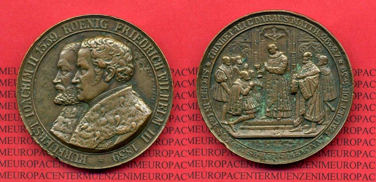 Medaille 1839 Deutschland Preußen Medaille 1839 Kurfürst Ioachim Ii