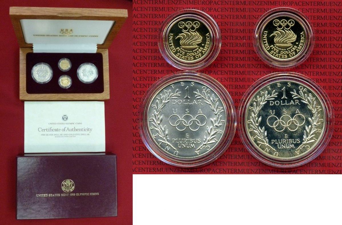 2 X 1 Dollar Silber Und 2 X 5 Dollars Gold 1988 Usa United States