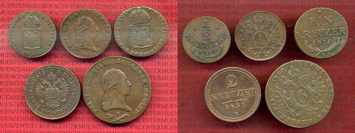 Lot 5 Münzen Verschiedene österreich Austria österreich Kreuzer Lot