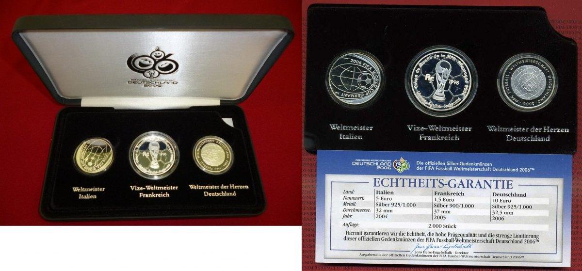 3 Silbermünzen Im Set 2004 2006 Deutschland Italien Frankreich