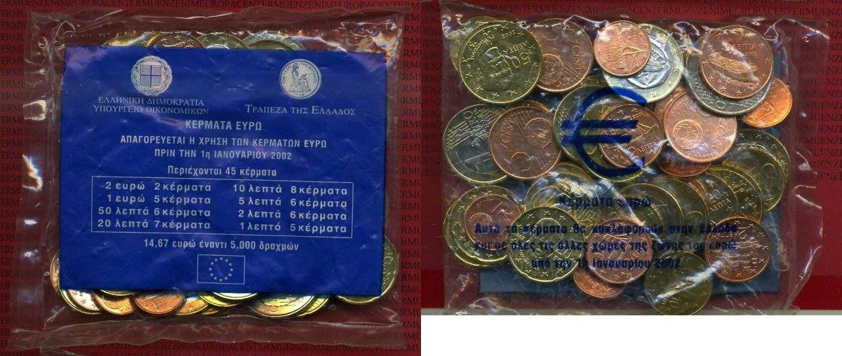 Euro Starter Kit 1467 Euro 45 Münzen 2002 Griechenland Starterkit