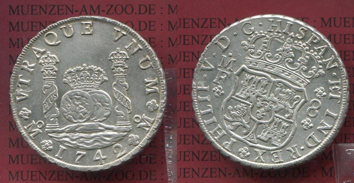 8 Reales Silbermünze Wappen M Säulen 1742 Mexico Mexiko Unter