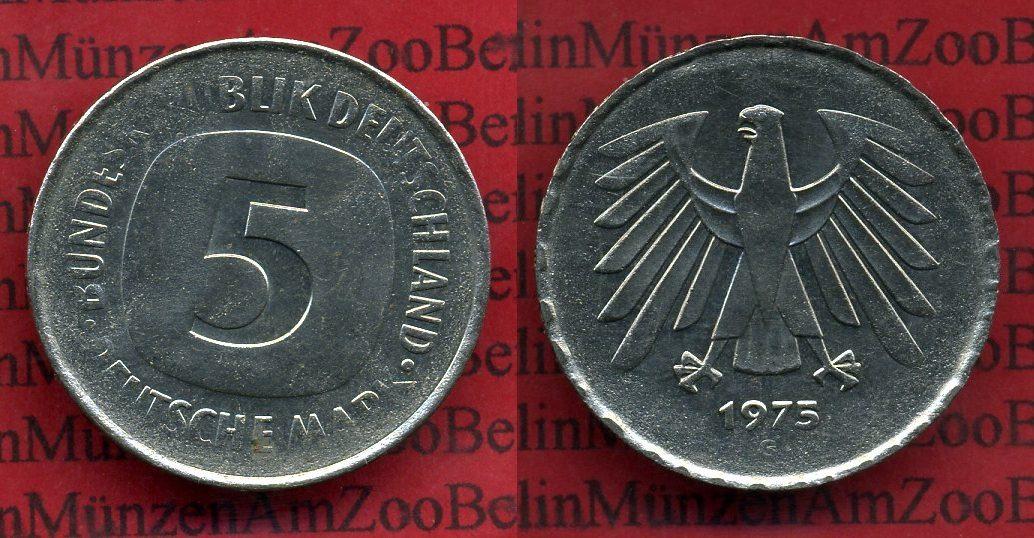 5 Dm Fehlprägung Dünner Schrötling 1975 G Bundesrepublik