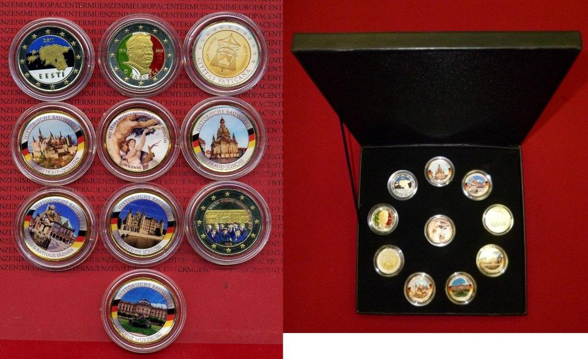 10 X 2 Euro Münzen 2011 2012 Malta Italien Estland Brd 10 X 2 Euro Aufwendig Verziert Zt Mit Emaille Teilweise Vergoldet Mit Farbapplikation