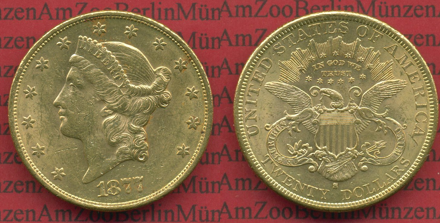 20 Dollars Goldmünze Double Eagle 1877 S Usa Usa 20 Dollars Liberty
