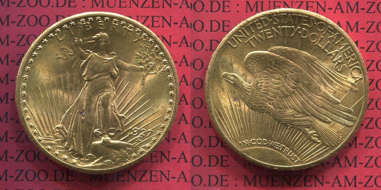 20 Dollars Gold St Gaudens Double Eagle 1927 Usa Usa 20 Dollars