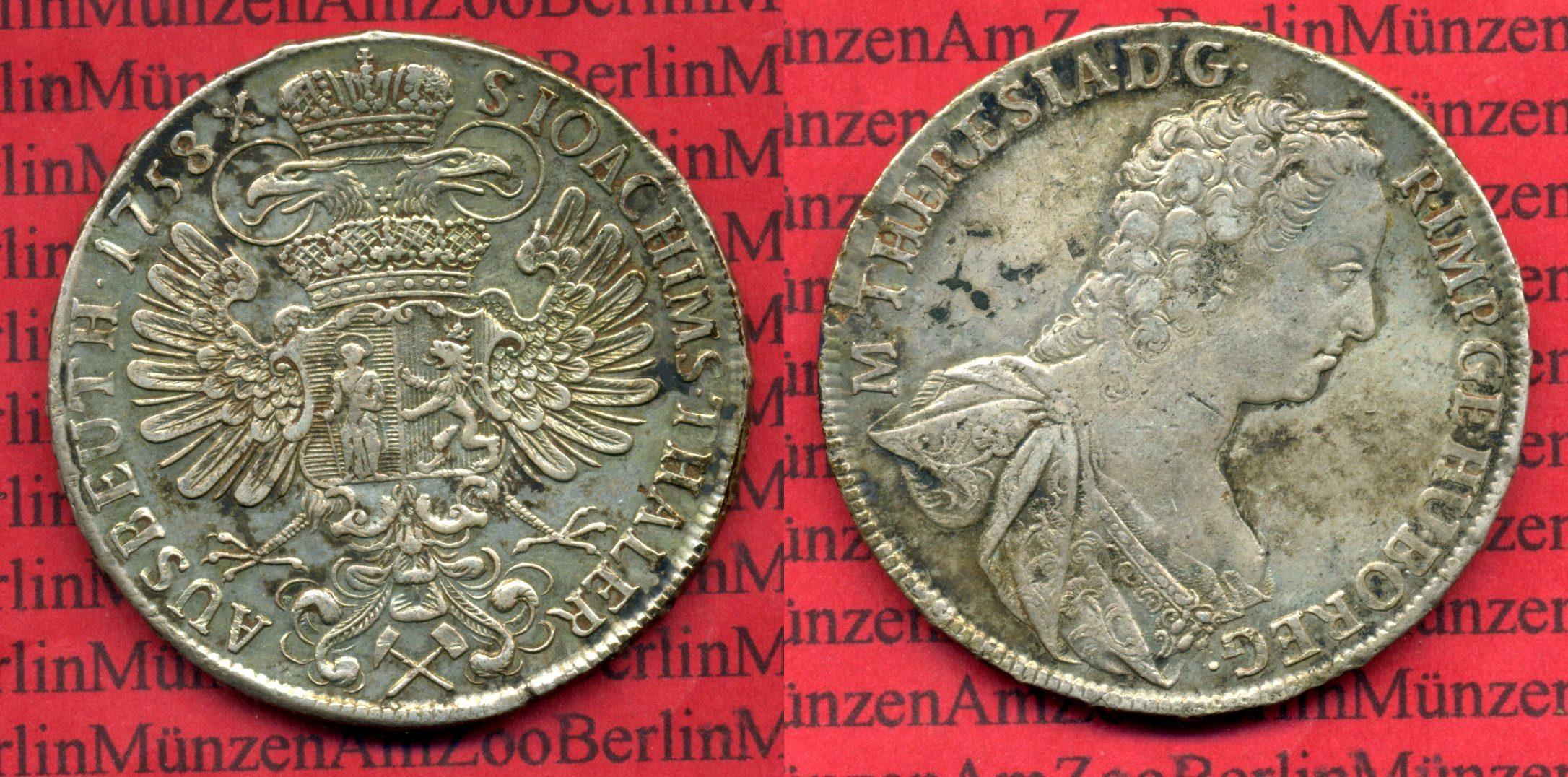 1 Taler Ausbeutetaler Maria Theresia 1758 österreich 1 Taler
