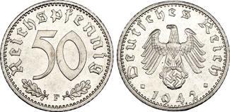 Drittes Reich: 50 Reichspfennig 1942 F st, hübsche