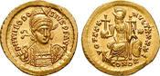 Solidus 430-440 st, winz. Schrf. Theodosius II.,