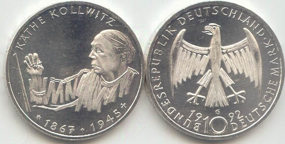 10 Dm 1992 Deutschland Brd 10 Dm Käthe Kollwitz 1992 G St Fdc Ma Shops