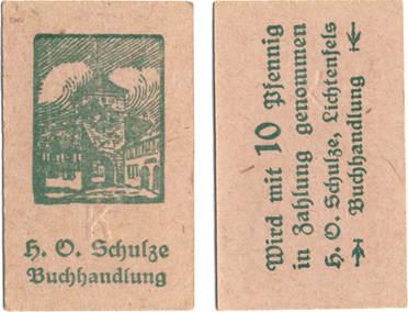 10 Pfennig Lichtenfels Bayern H O Schulze Buchhandlung