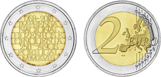 2 Euro 2018 Portugal 2 Euro 2018 250 Years Of National Printing