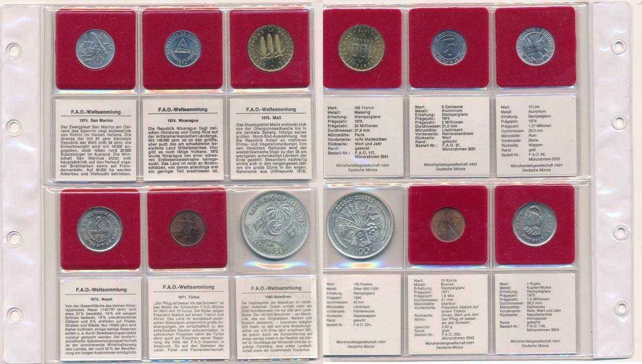 Fao 6 Münzen San Marino Nicaragua Mali Nepal Türkei