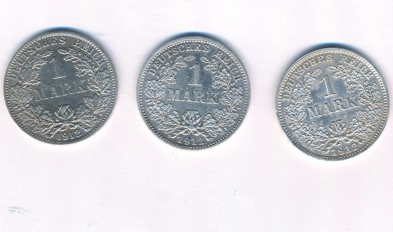 1 Mark 1912 Ade Deutschland Kaiserreich Lot 3 Münzen Sup Ma Shops