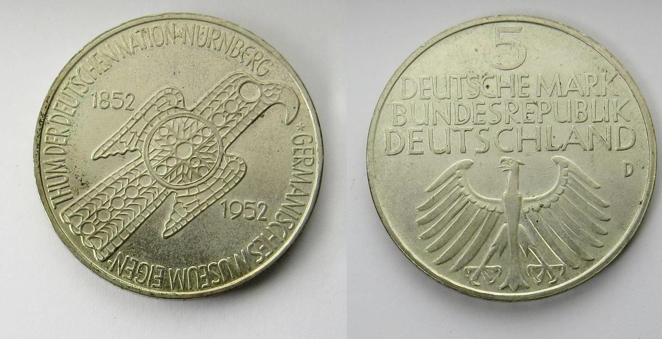 5 Mark 1952 Deutschland Germanisches Museum Vz Ma Shops
