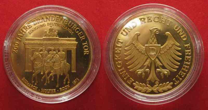 1991 Deutschland Medaillen 200 Jahre Brandenburger Tor Bismarck