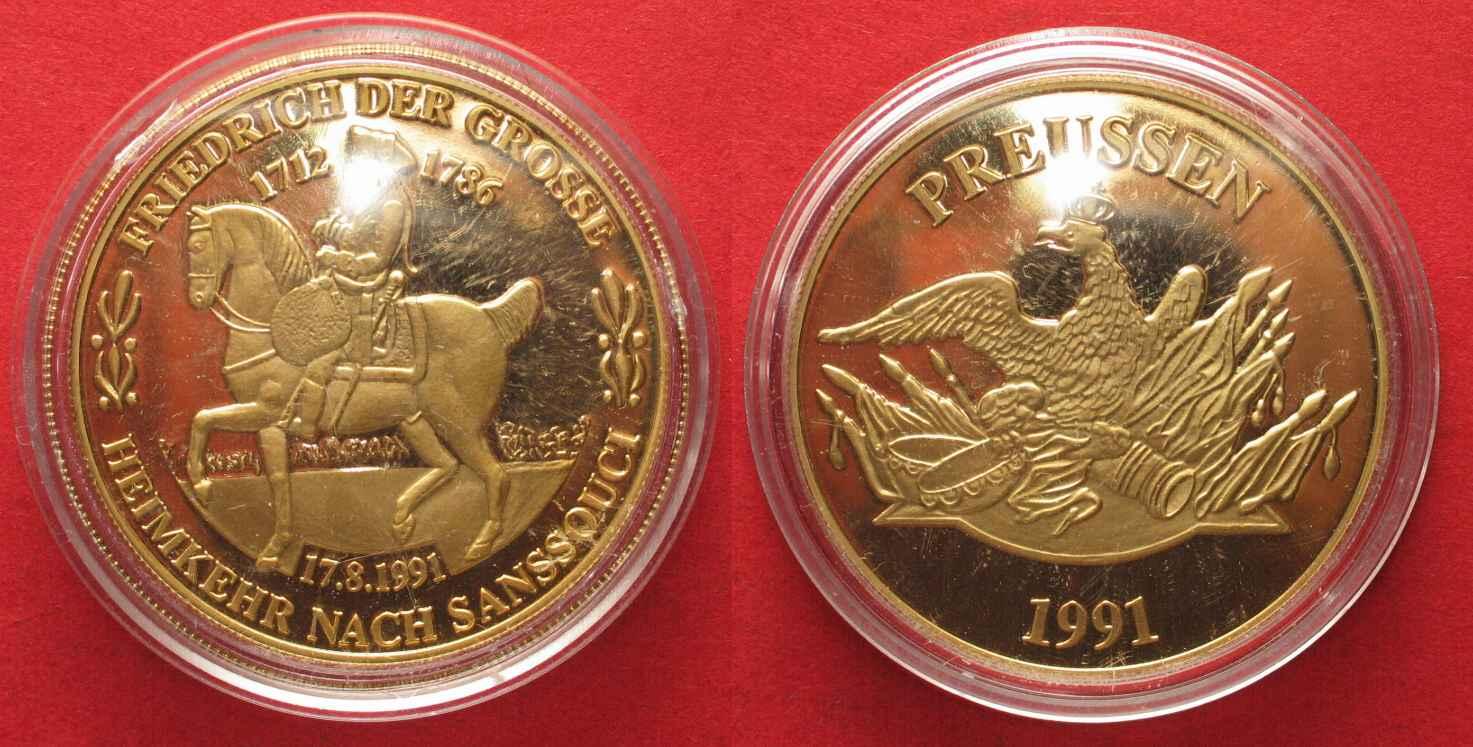 1991 Deutschland Medaillen Preussen Friedrich Der Grosse