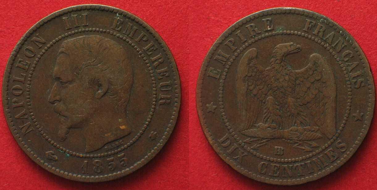 1855 Frankreich France 10 Centimes 1855 Bb Strasbourg Napoleon Iii