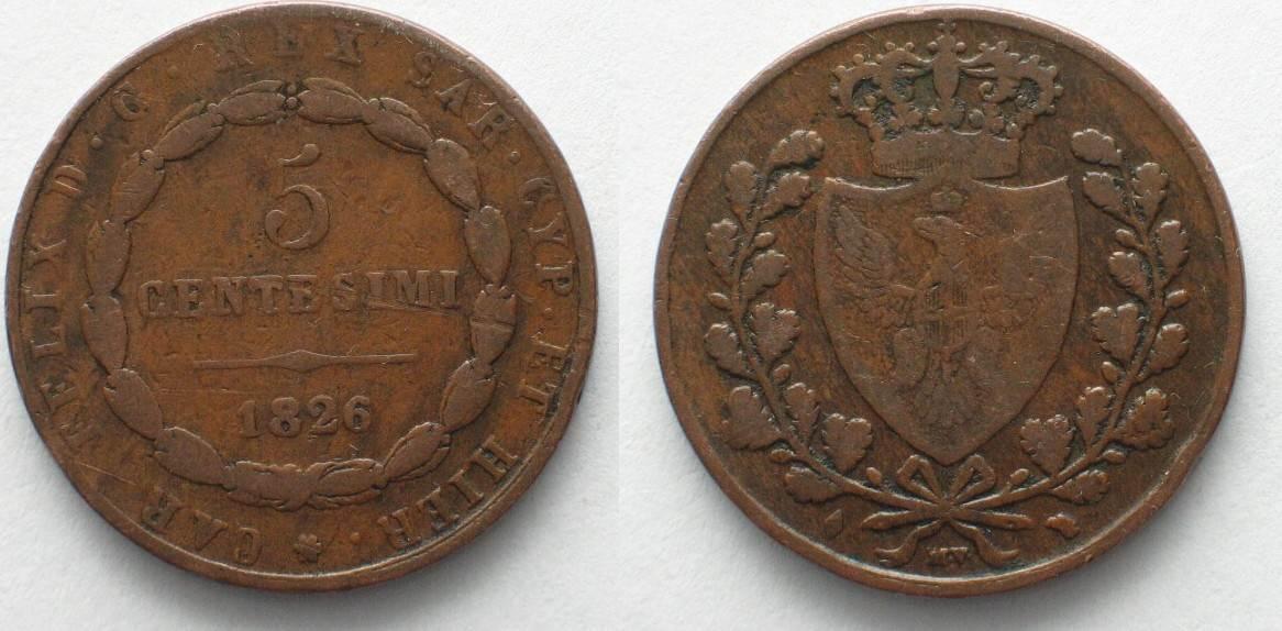 1826 italien sardinien italy sardinia 5 centesimi 1826 l for Coin torino