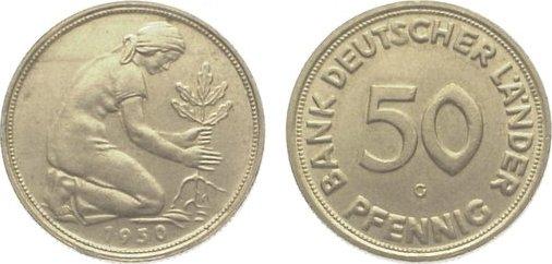 50 Pfennig 1950 G Bundesrepublik Deutschland Winz Randfehler Sup