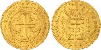 Brasilien 4000 Reis Gold 1774 Kl. Randfehler, sehr